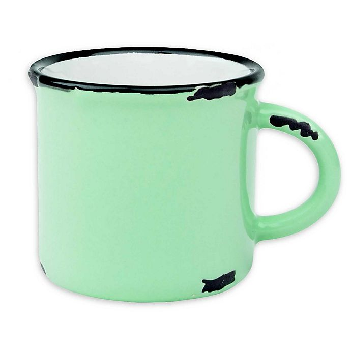 Alternate image 1 for Tinware Espresso Mugs in Pea Green (Set of 4)