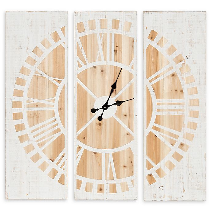 Alternate image 1 for Kate and Laurel Piedmont 3-Panel 36-Inch Square Wall Clock in White
