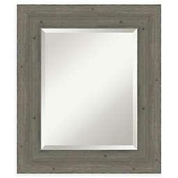 Amanti Art Fencepost Grey Framed Bathroom Mirror
