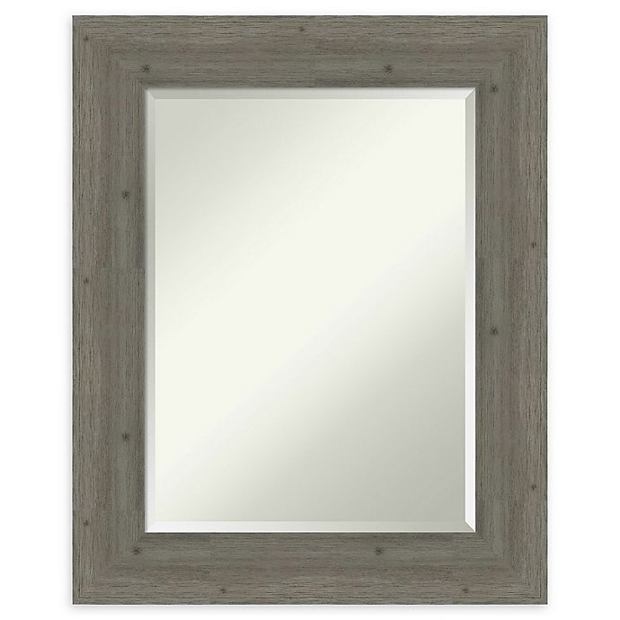 Alternate image 1 for Amanti Art Fencepost Grey 25-Inch x 31-Inch Framed Bathroom Mirror