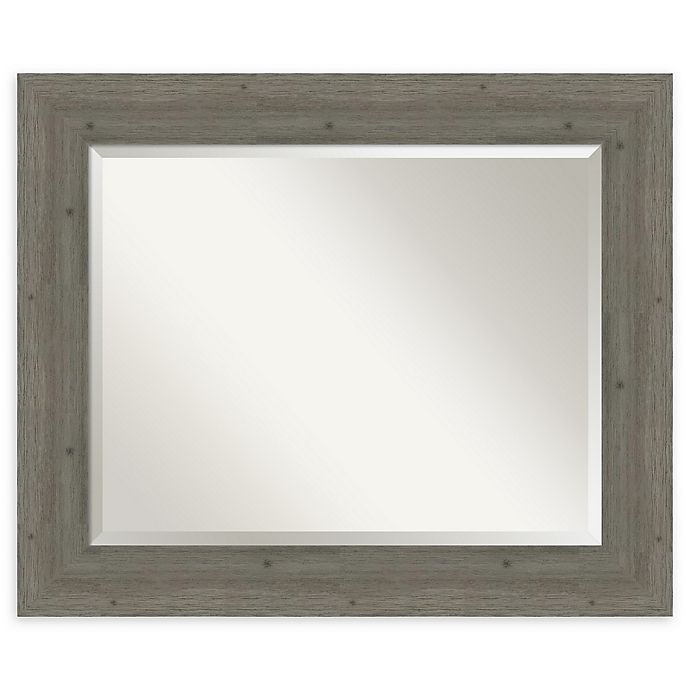 Alternate image 1 for Amanti Art Fencepost Grey 35-Inch x 29-Inch Framed Bathroom Mirror