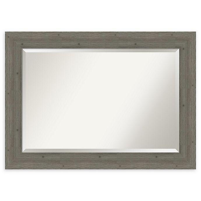 Alternate image 1 for Amanti Art Fencepost Grey 43-Inch x 31-Inch Framed Bathroom Mirror