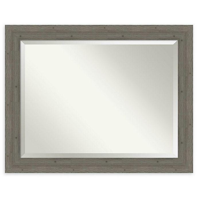 Alternate image 1 for Amanti Art Fencepost Grey 47-Inch x 37-Inch Framed Bathroom Mirror
