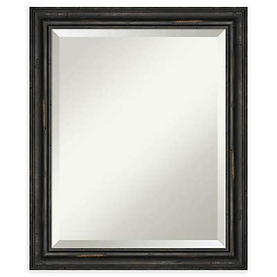 Amanti Art Narrow Rustic Black Pine Framed Bathroom Mirror