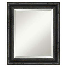 Amanti Art Rustic Black Pine Framed Bathroom Mirror
