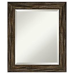 Amanti Art Narrow Fencepost Brown Framed Bathroom Mirror