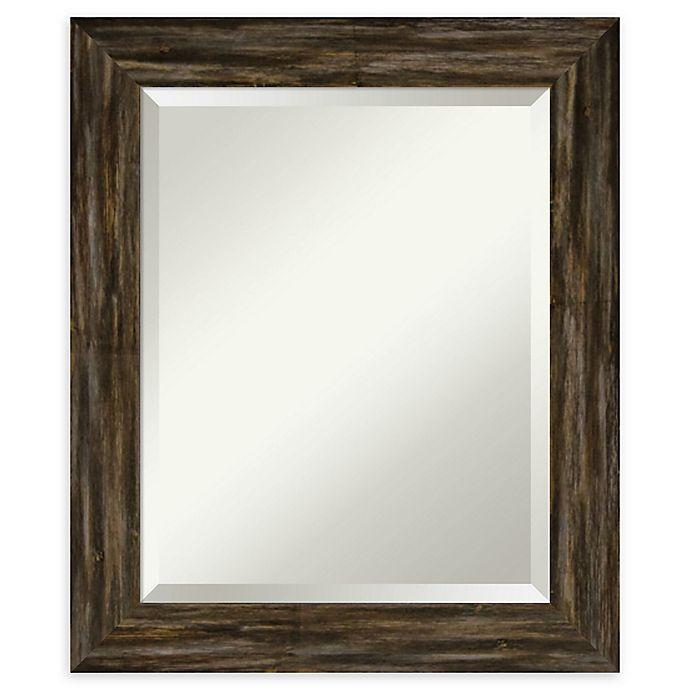 Alternate image 1 for Amanti Art Narrow Fencepost Brown Framed Bathroom Mirror