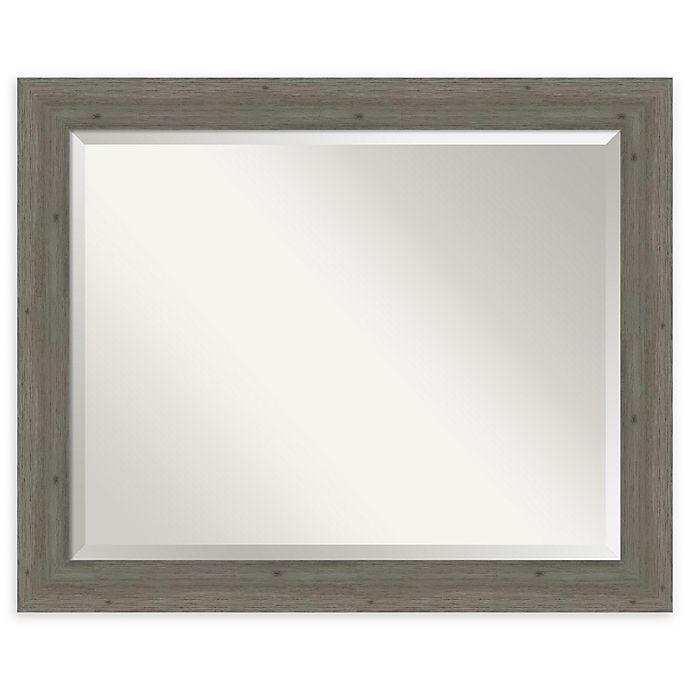 Alternate image 1 for Amanti Art Narrow Fencepost Grey 33-Inch x 27-Inch Framed Bathroom Mirror