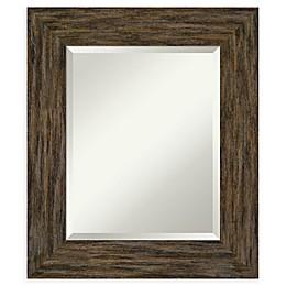 Amanti Art Fencepost Brown Framed Bathroom Mirror