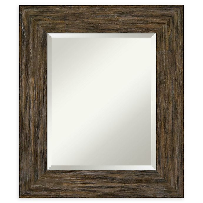 Alternate image 1 for Amanti Art Fencepost Brown Framed Bathroom Mirror