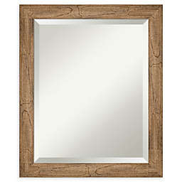 Amanti Art Narrow Owl Brown Framed Bathroom Mirror