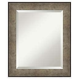 Amanti Art Pounded Metal Wood Framed Bathroom Mirror