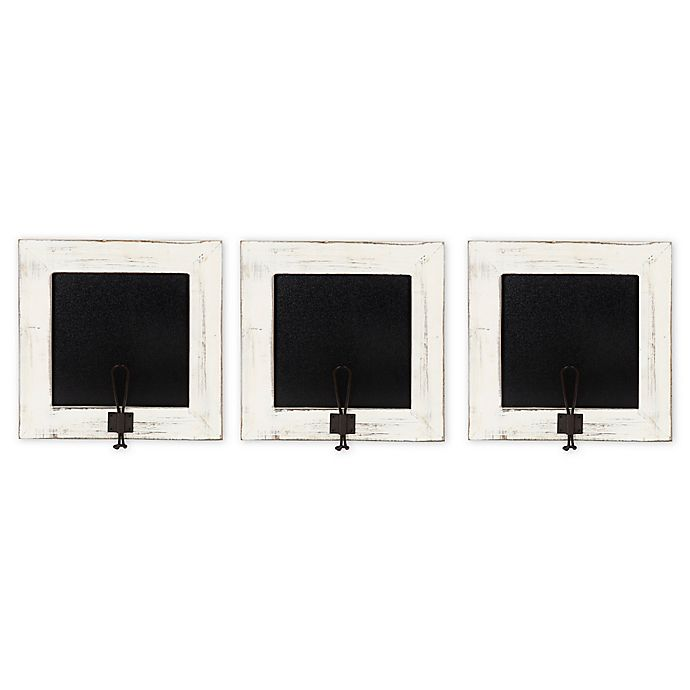 Alternate image 1 for Kate and Laurel Jeran Chalkboards with Hooks in White (Set of 3)