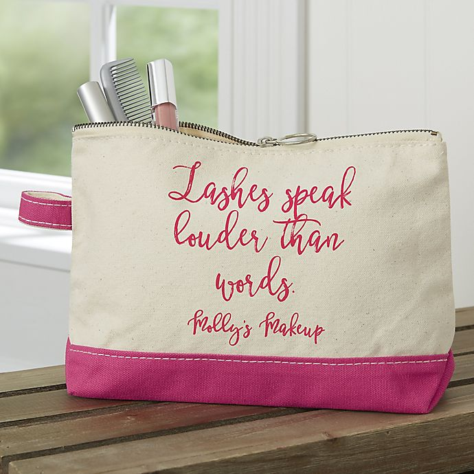 Alternate image 1 for Expressions Personalized Makeup Bag in Pink