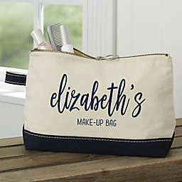 Scripty Name Personalized Makeup Bag in Navy