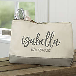 Scripty Name Personalized Makeup Bag in Grey