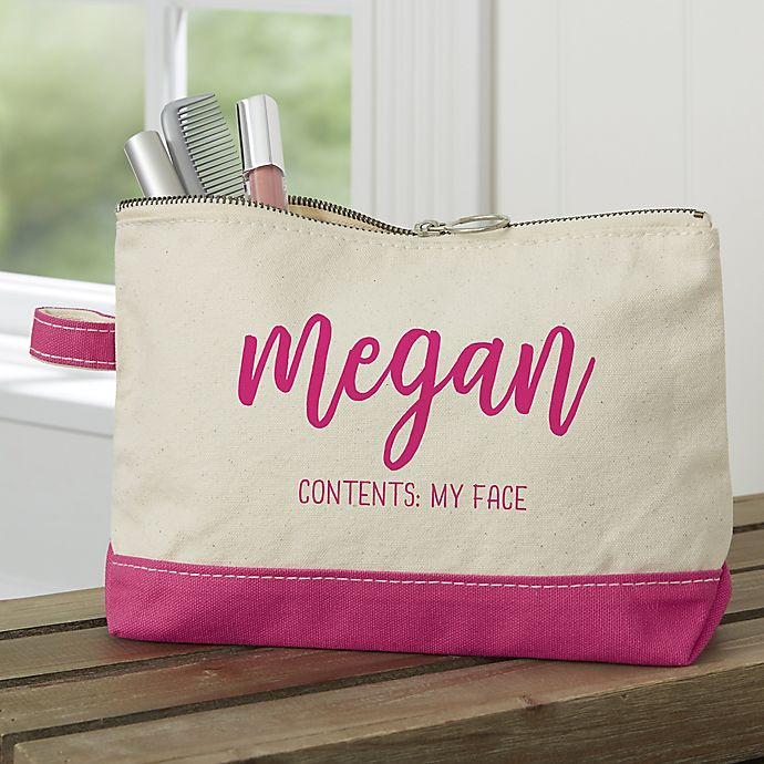 Alternate image 1 for Scripty Name Personalized Makeup Bag in Pink