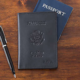 First Class Monogrammed Leather Passport Cover