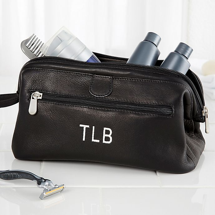 Alternate image 1 for Personalized Black Leather Toiletry Bag