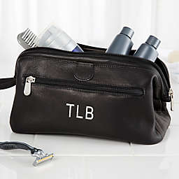 Personalized Black Leather Toiletry Bag