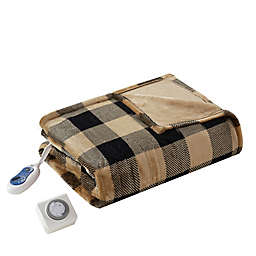True North by Sleep Philosophy Oversized Heated Throw Blanket in Tan