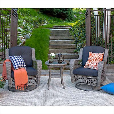 Forest Gate Weston Rattan Motion Chair Outdoor Chat Set