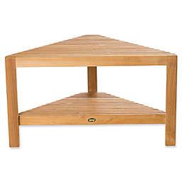 ARB Teak & Specialties Fiji Teak Wood Corner Bench with Shelf in Natural