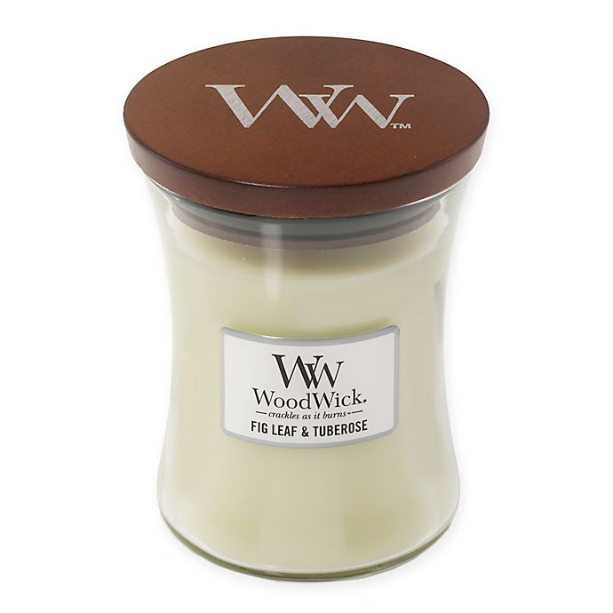Alternate image 1 for WoodWick® Fig Leaf & Tuberose Medium Hourglass Jar Candle