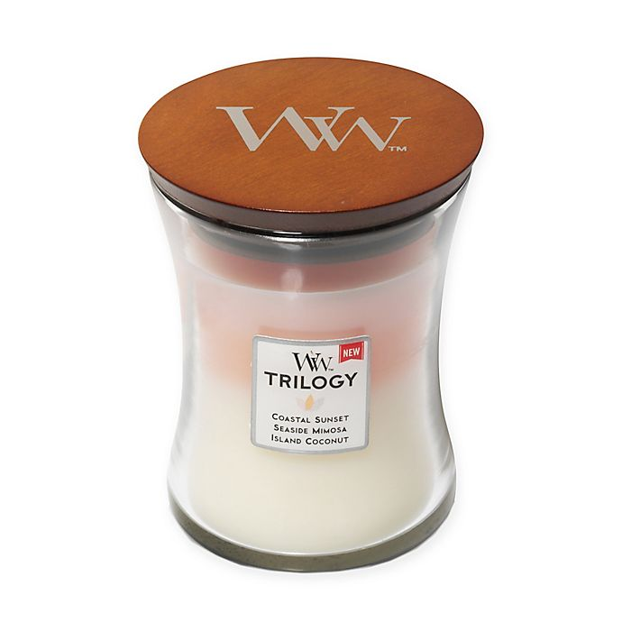 Alternate image 1 for WoodWick® Trilogy Island Getaway Medium Hourglass Jar Candle