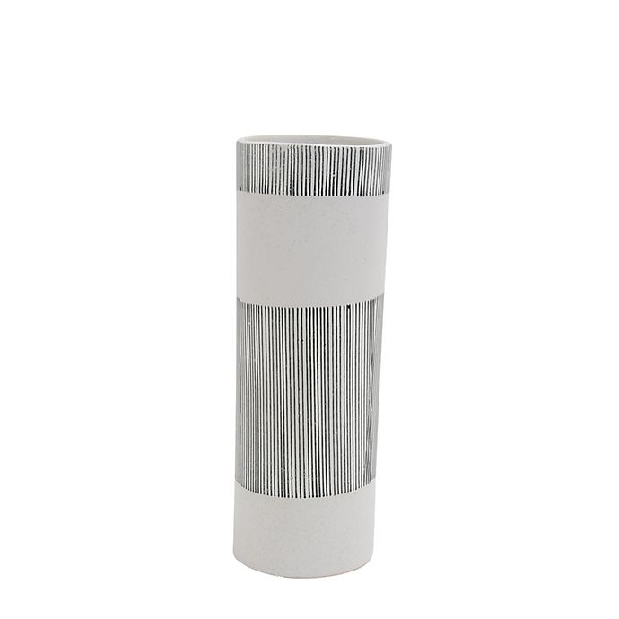 Alternate image 1 for Sagebrook Home Striped Ceramic Vase in White/Grey