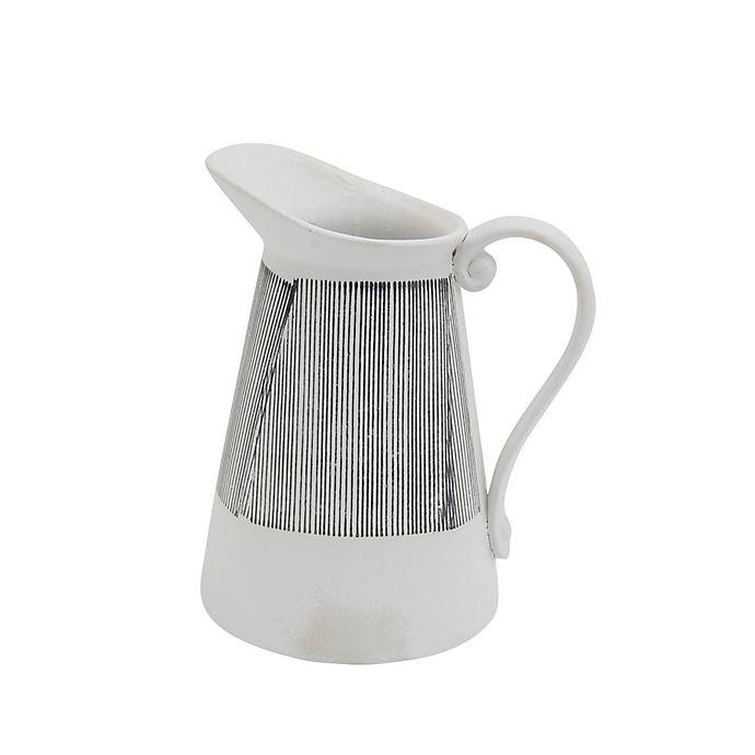 Alternate image 1 for Sagebrook Home Striped Ceramic Pitcher Vase in White/Grey