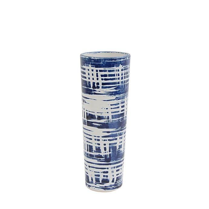 Alternate image 1 for Sagebrook Home 12-Inch Striped Cylinder Ceramic Vase in Blue/White