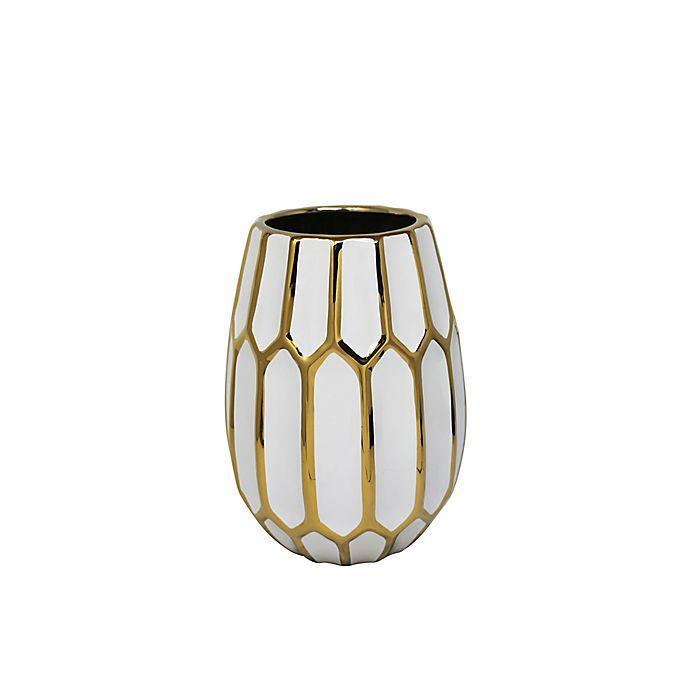 Alternate image 1 for Sagebrook Home 9.5-Inch Faceted Ceramic Vase in White/Gold