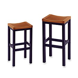 Home Styles Black & Cottage Oak Bar Stool