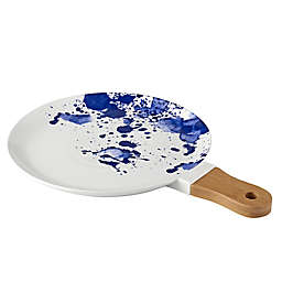 Over and Back® Round Platter in White/Blue with Wood Handle