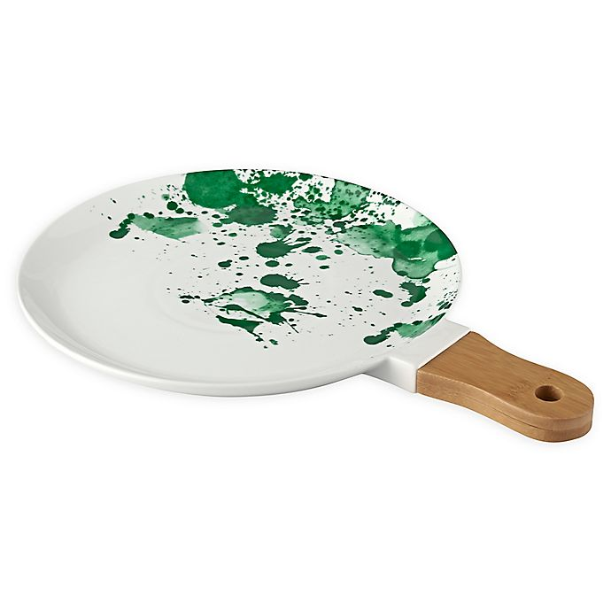Alternate image 1 for Over and Back® Round Platter in White/Green with Wood Handle