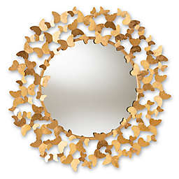 Baxton Studio Tameka Butterfly Accent Mirror in Gold