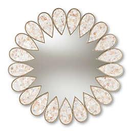 Baxton Studio Filip Round Accent Mirror in Silver