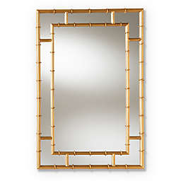 Baxton Studio Dinah 21.5-Inch x 32.2-Inch Bamboo Wall Mirror in Gold