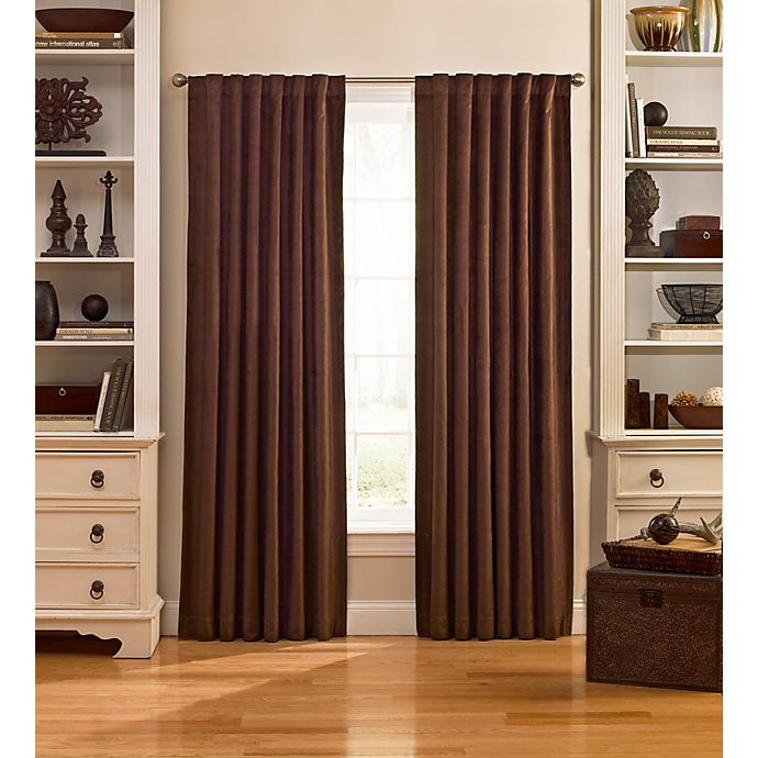Alternate image 1 for Catania 84-Inch Velvet Back Tab Window Curtain Panel in Espresso