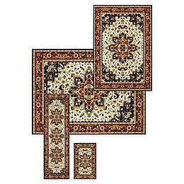 Alexandria Heriz 4-Piece Woven Rug Set in Black