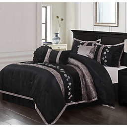 Riley Embroidered 7-Piece California King Comforter Set in Black