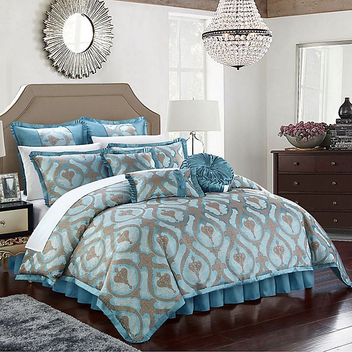 Alternate image 1 for Chic Home Akim 13-Piece King Comforter Set in Blue