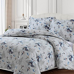 Tribeca Living 170-Thread-Count Snowman Flannel Duvet Cover Set