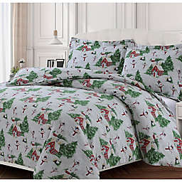 Tribeca Living 170-Thread-Count Snowman Flannel King Duvet Cover Set in Green