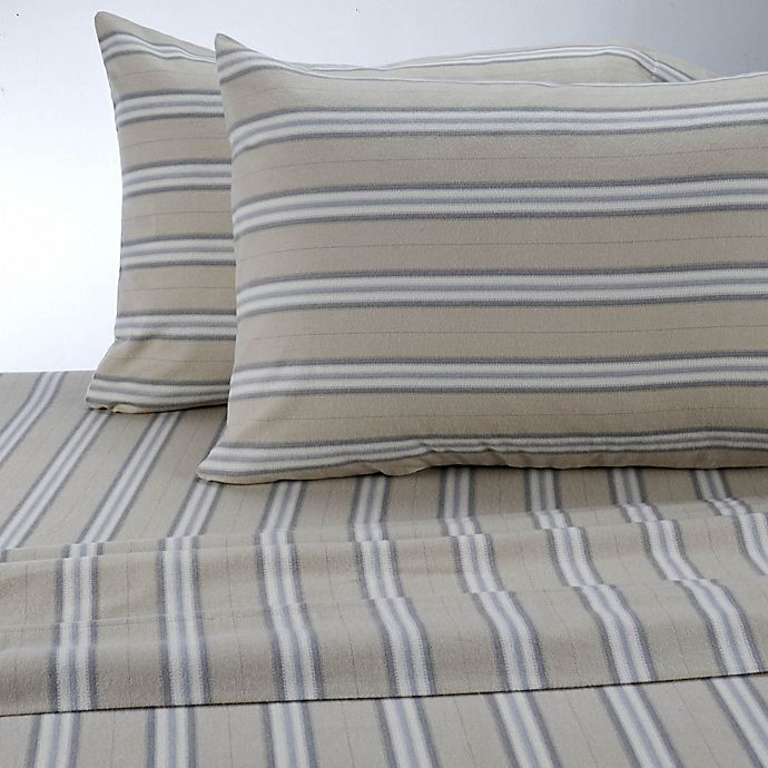 Alternate image 1 for Therapedic® Stripe 160 Thread Count King Sheet Set in Linen/gray