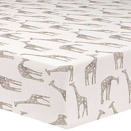 Liz and Roo® Giraffe Fitted Crib Sheet in Taupe