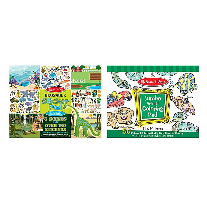 Melissa Doug Habitat Animal Sticker Pad Play Bundle Set
