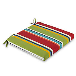 Stripe Outdoor 16-Inch Square Bistro Chair Cushion