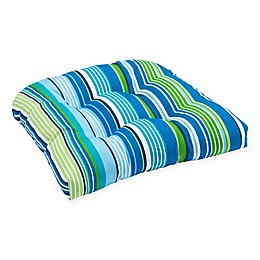 Stripe U Rounded Back Wicker Indoor/Outdoor Chair Cushion